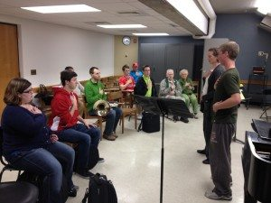 Hornist Lin Foulk leads a master class.