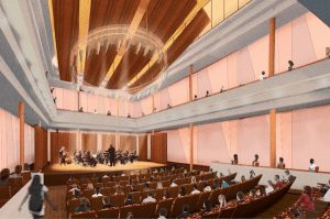 The new recital hall in the soon-to-be-constructed Hamel Music Center.