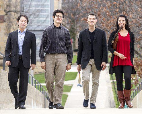 L-R: KangwooJin,piano;LuisAlbertoPeña,piano;GarrettMendelow,percussion;andParan Amininazari,violin.PhotographbyMichaelR.Anderson.